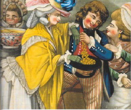 A Rich Privateer Brought Safe into Port, by Two First Rates, d'après Dighton. Couverture de l'édition Penguin de The Adventures of Roderick Random de 1999,Tobias Smollett.