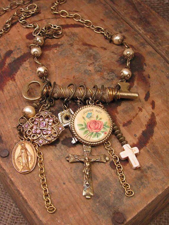 Upcycled Jewelry  Jute Wrapped Skeleton Key with PINK by thekeyofa, $139.00