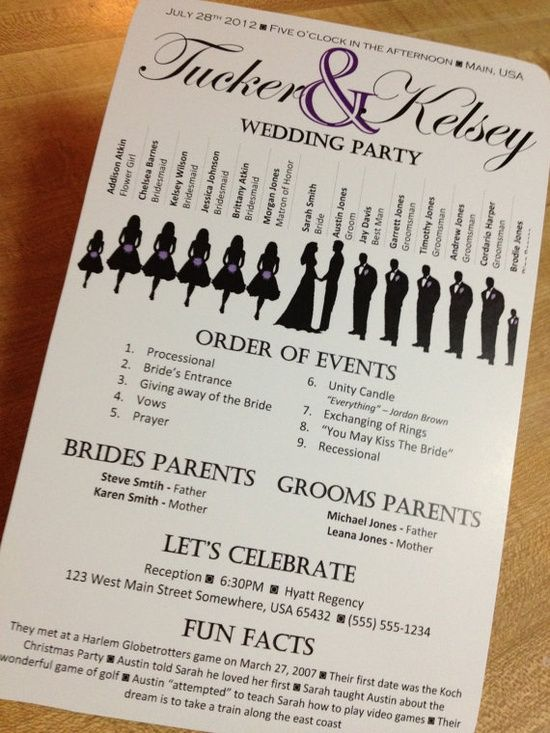 A New Kind of Wedding Program | | Society BrideSociety Bride... Just thinking his might be a good idea to put on guest tables with napkins!