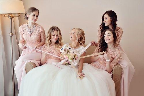 подружки невесты, букет невесты, розовый, платья подружек