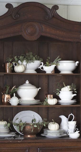 dining room china cabinet and hutch decor - add copper and seeded eucalyptus