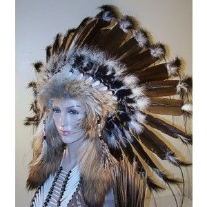 Cherokee Native American Women   Native American War Bonnet Feather Headdress, Reproduction