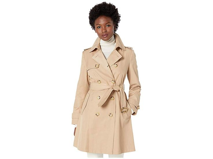 Jessica simpson women's petite belted satin trench coat