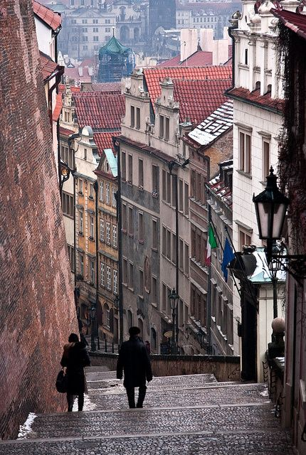 Stairway from the Prague Castle to Lesser Town quarter.
