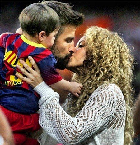 Shakira and her husband Gerard Pique of FC Barcelona are seen with their son Milan Pique prior to the La Liga match between FC Barcelona and Sevilla FC at Camp Nou on September 14, 2013 in Barcelona, Spain.