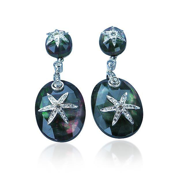 Diamant-Ohrstecker mit 0,39ct Diamanten als #Sterne, Perlmutt facettiert #Schmuck #Schmuck-Boerse #vintage #ohrringe #diamant #ohrstecker #ringe