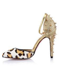 Sandals Sexy Leopard Print Rivet Horse Hair Ankle Strap Women's Dress Pumps