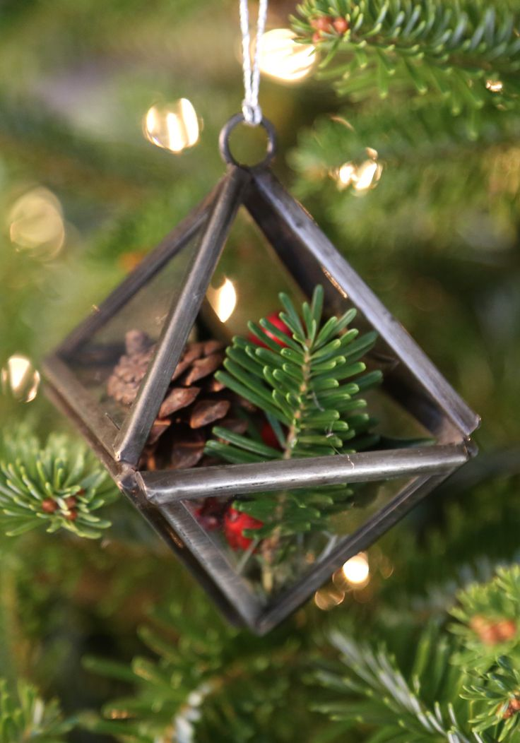This mini terrarium ornament is the perfect way to hide special small gifts on your Christmas tree this year. Or use it all year long to display air plants or other small treasures around the home. ~ Handmade in India and 100% fair trade