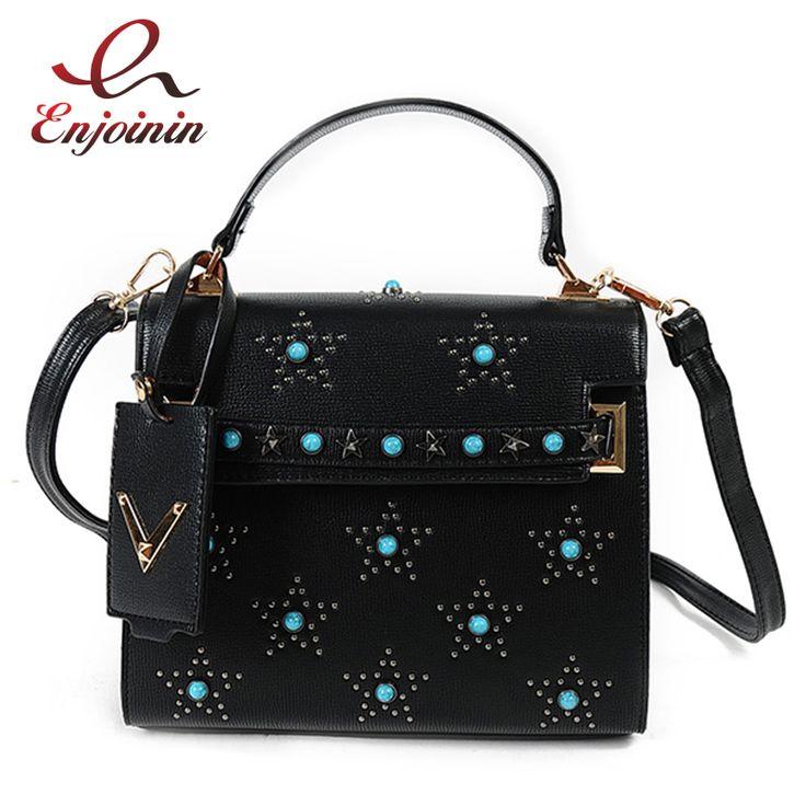 Новая Мода стиль голубой агат звезды заклепки искусственная кожа повседневная сумки дамы сумки на ремне сумки crossbody сумка для женщин купить на AliExpress
