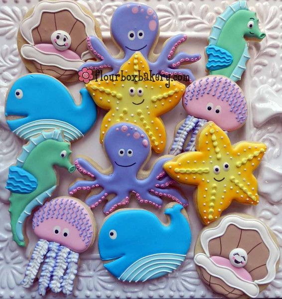 Under the Sea~ By Flour Box Bakery, yellow starfish, pink jellyfish, purple octopus, blue whale, blue clam