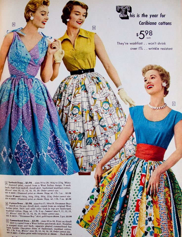 I would totally wear the outfit in the lower right- if I could find it, that is! (from the spring/summer 1955 catalog, Sears.)