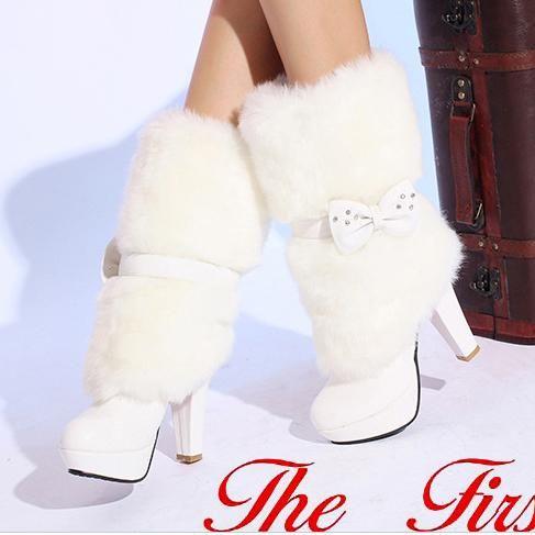 Pointed Toe Platform Stiletto Heels Faux Fur Half Boots