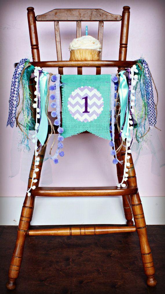 Under the Sea Little Mermaid Birthday Age HIGH CHAIR highchair Birthday Banner /Party/ Photo Prop/Bunting/Backdrop/ Nursery Banner/Custom on Etsy, $19.95