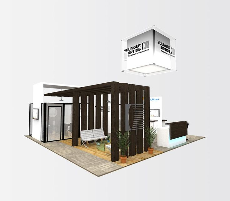 Rent this 30×30 trade show exhibit featuring private meeting rooms, a digitally locked storage room and a semi-private lounge.