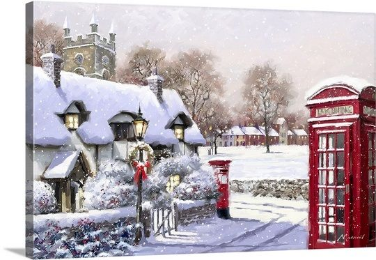 A Winter Scene During The Holidays With Snow Falling In A Tiny Quaint Village Village 2 Wall Art By The Macneil Canvas Art Oversized Art Canvas Art Prints