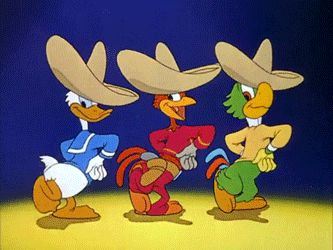 """""""We're three happy chappies…"""" Donald Duck, Panchito and Jose Carioca from The Three Caballeros (1944).  Characters animated by Ward Kimball.    Ah, the Three Caballeros. One of my favorite things EVER.  Jose and Panchito don't get enough love, I swear."""