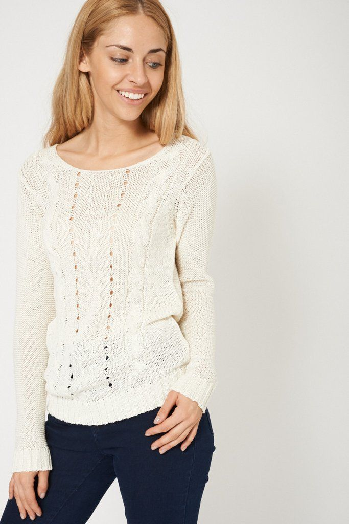 Lovely Crochet Cable Knit Cream Jumper