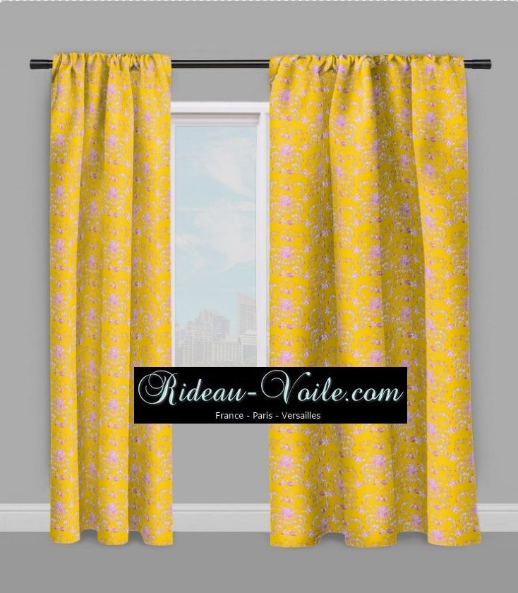toile de jouy tissu rideau jaune rose fushia tissus rideaux toile de jouy rideau jaune