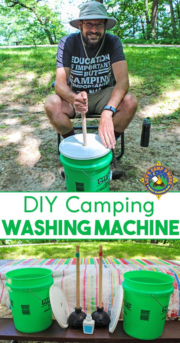 DIY Camping Laundry Washing Machine Tutorial - Need to wash your dirty clothes while camping? Make your own Portable Washing Machine to clean your laundry outdoors. Kids love to help wash laundry with this portable laundry system. #camping #DIY