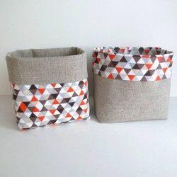 2 panières vide-poches en lin triangles oranges