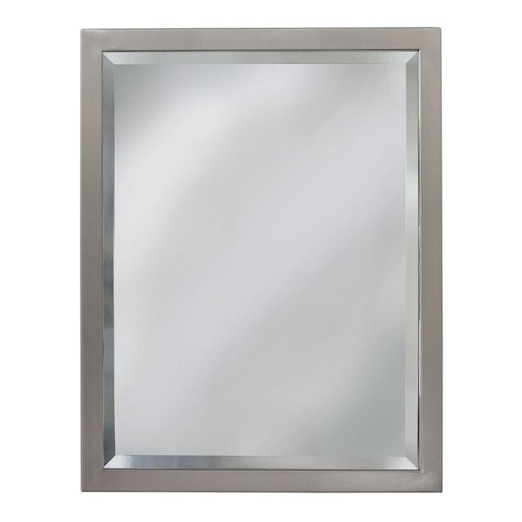 allen + roth 24-in W x 30-in H Brush Nickel Rectangular Bathroom Mirror