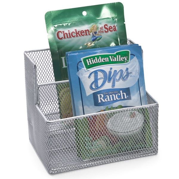 pantry: Packets Holders, Seasons Packets, Desks Organizations, Mesh Packets, Good Idea, Silver Mesh, Under Kitchens Sinks, Pantries Organizations, Kitchens Pantries