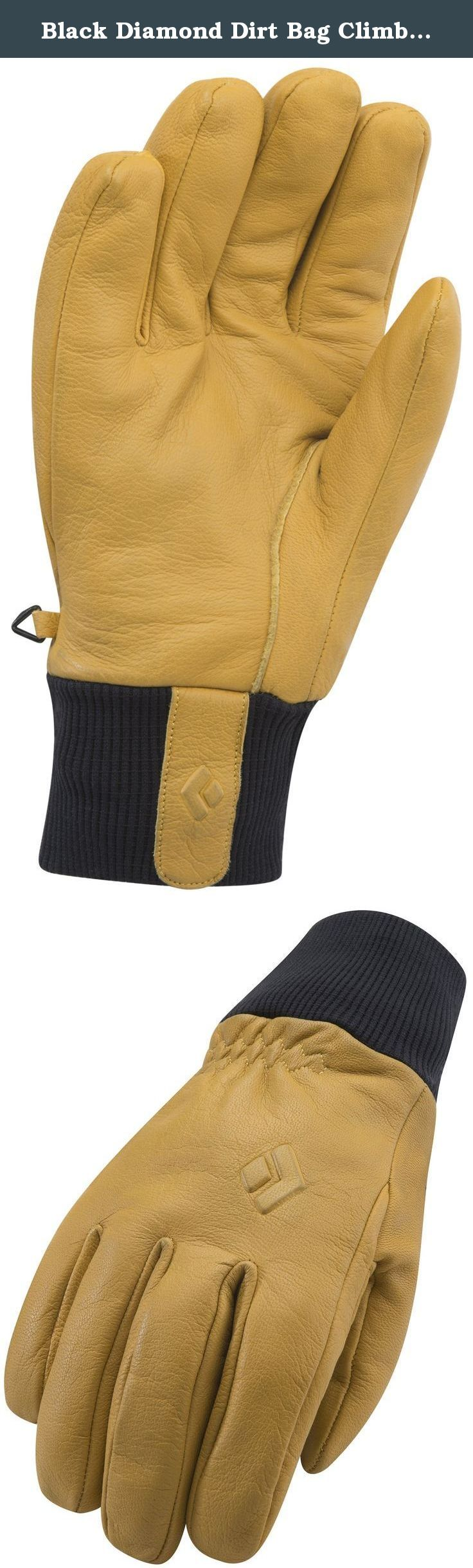 Black Diamond Dirt Bag Climbing Gloves, Natural, X-Large. Built for the dish-washing, lift-bumping, couch-surfing core, from Lake Tahoe to La Grave, the Dirt Bag merges the minimalist functionality of your favorite work glove with a warm, water-resistant and super-durable construction. The Dirt Bag's simple leather shell features a fixed fleece lining for added warmth, and a knitted cuff for a clean and comfortable under-the-cuff seal against snow.