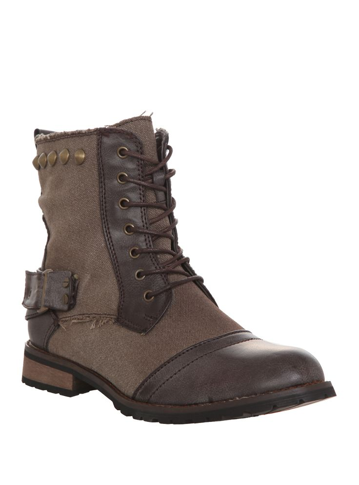 Groove Brown Studded Combat Boots | Hot Topic