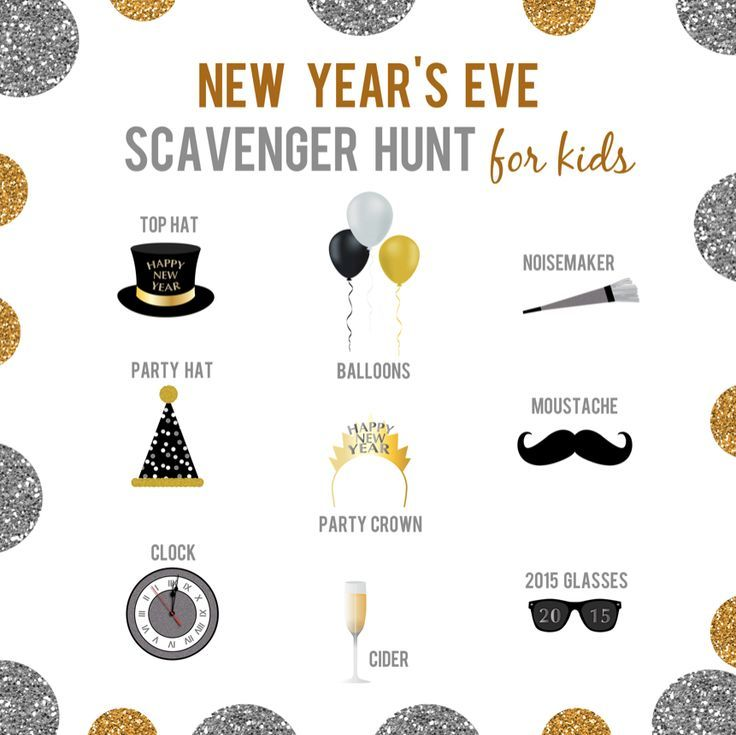 New Years Eve Scavenger Hunt for Kids - easy to print and so many different ways to use this for different aged kids.
