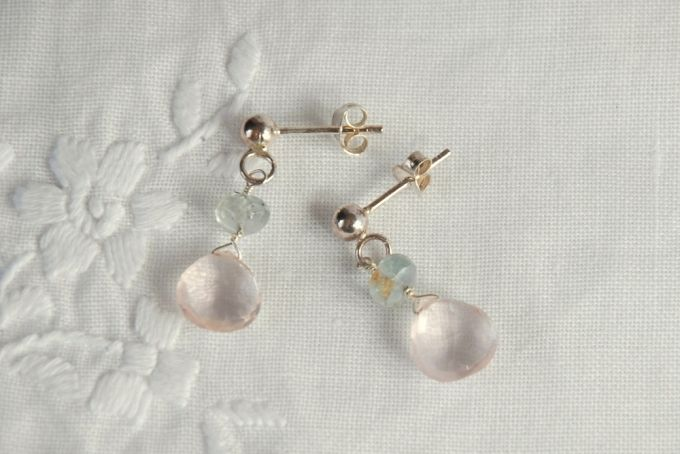 rose quartz and aquamarine earrings by The Coral Tree