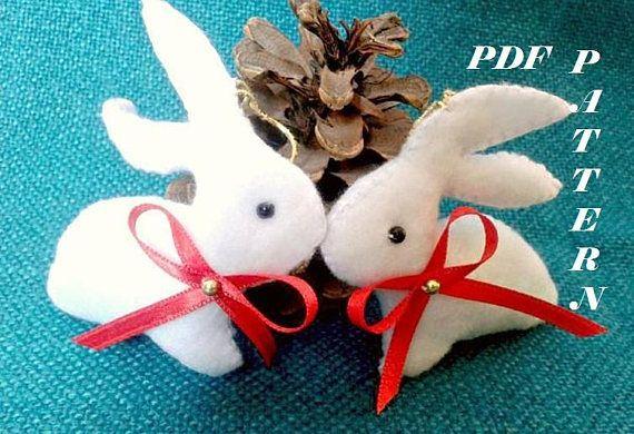 Christmas bunnies Bunny Christmas Bunny doll pattern Easter