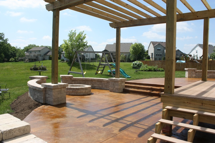Come Join Us Acid Stain Concrete Patio Tumbled Stone