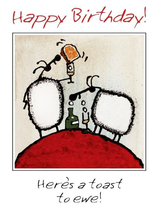 """""""Here's a toast to ewe!"""" card by Ann Gadd."""