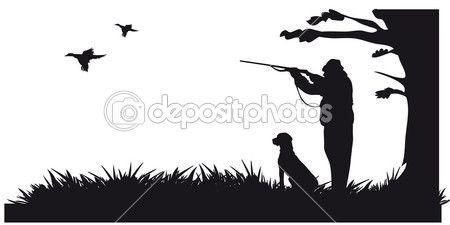 Chasseur avec animaux de chasse du chien à la silhouette de la forêt - noire et blanc — Illustration #16960497
