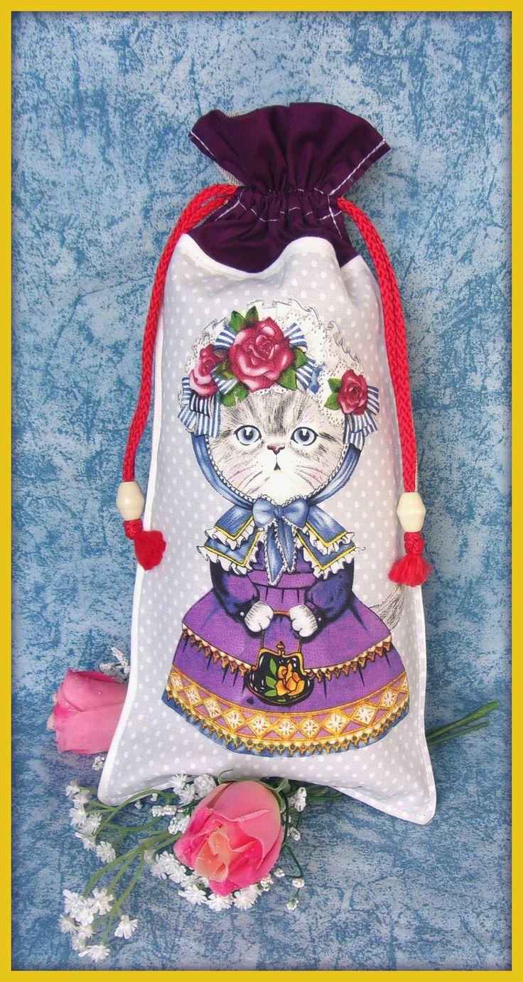 Pochon tissu motif chat robe violette : Accessoires à accrocher par orkan28