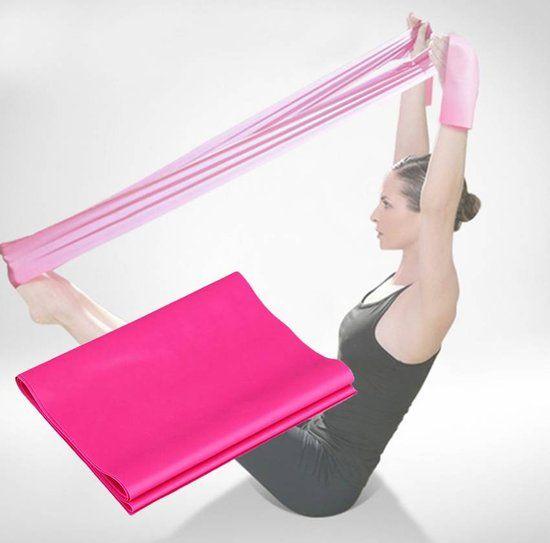 Stretchband - weerstandsband - fitness band - yoga - pilates - buikspieren - roze - DisQounts