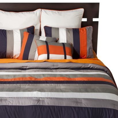 Striped 8 Piece Bedding Set - Navy/Orange MASTER BEDROOM