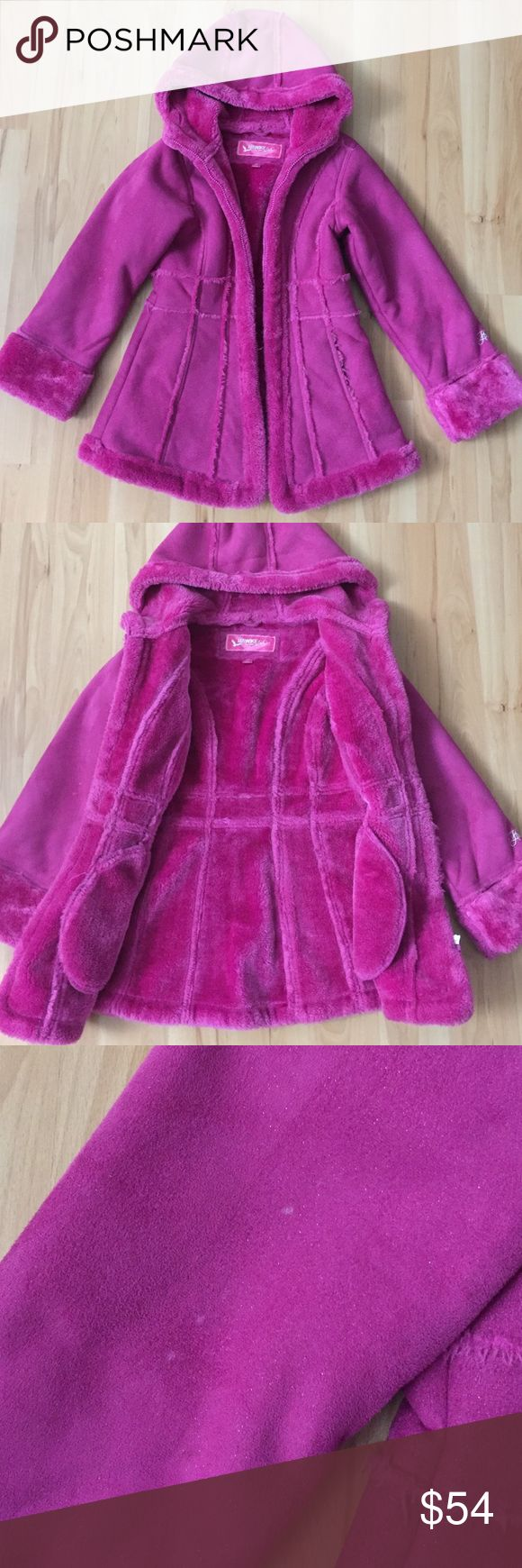 Girls Hooded Faux Fur Coat Size 6X. Gently used condition. Small stains on sleeve from rain/snow. Two pockets. Thick warm faux fur material. Chest 15in. Length 23in. Sleeve 19in. 100% polyester. Jackets & Coats