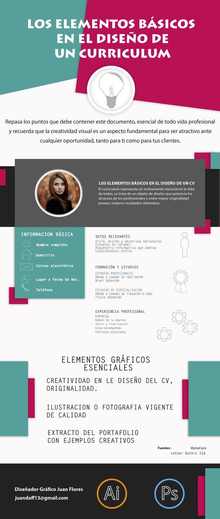 infografía elementos básicos en el diseño de un curriculum