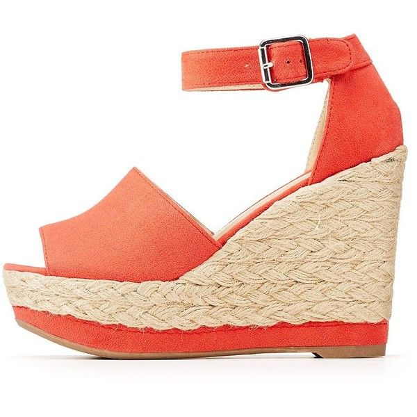 77c15838c Wild Diva Lounge Ankle Strap Espadrille Wedge Sandals ($36) ❤ liked on  Polyvore featuring