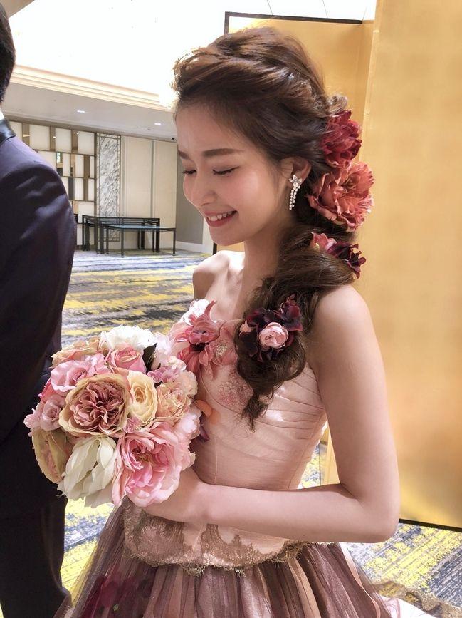 お花いっぱいのラプンツェルヘア♡ピンク ブラウンのカラー