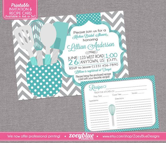 Stock The Kitchen Bridal Shower Invitation With Recipe Card Printable Teal  Blue Grey Chevron Teal Gray Part 68