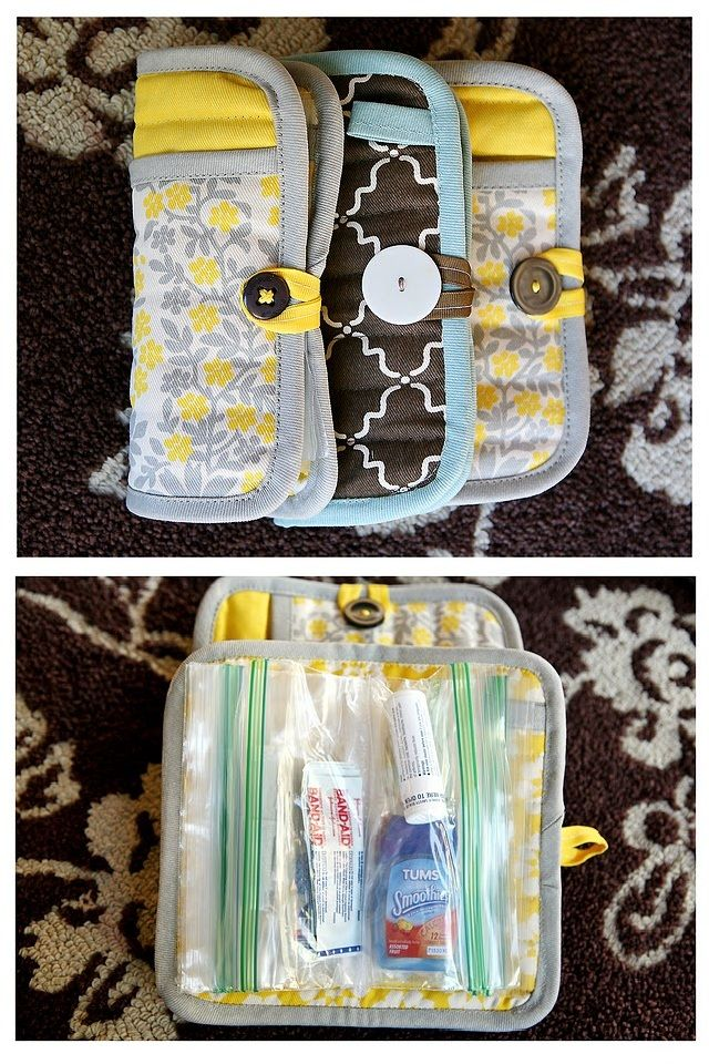 All it takes is a potholder and a button to turn this into a makeup bag, first aid kit, pencil holder... the list goes on!