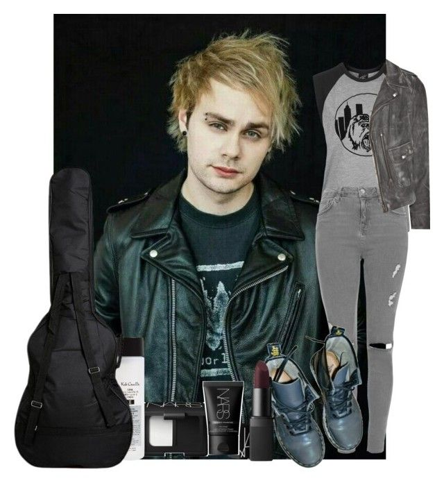 """""""I hear the sirens at the door they're always coming back for more"""" by ellac9914 ❤ liked on Polyvore featuring Illustrated People, Topshop, NARS Cosmetics, MiH Jeans, Dr. Martens, Koh Gen Do, michael, 5sos, Billboard and overandout"""