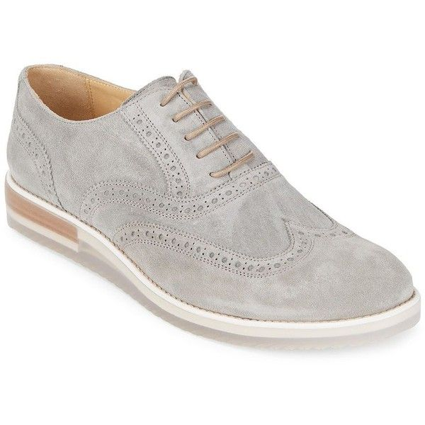 Bugatchi Suede Brogue Shoes (34.725 HUF) found on Polyvore featuring men's fashion, men's shoes, mens suede wingtip shoes, mens wingtip shoes, mens grey suede shoes, mens brogues and mens shoes