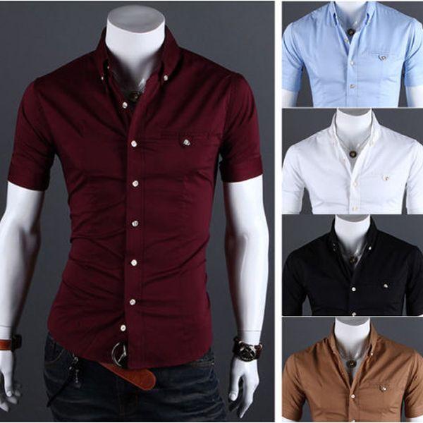Mens Summer Short Sleeve Casual Slim Fit metallic Button Collar ...