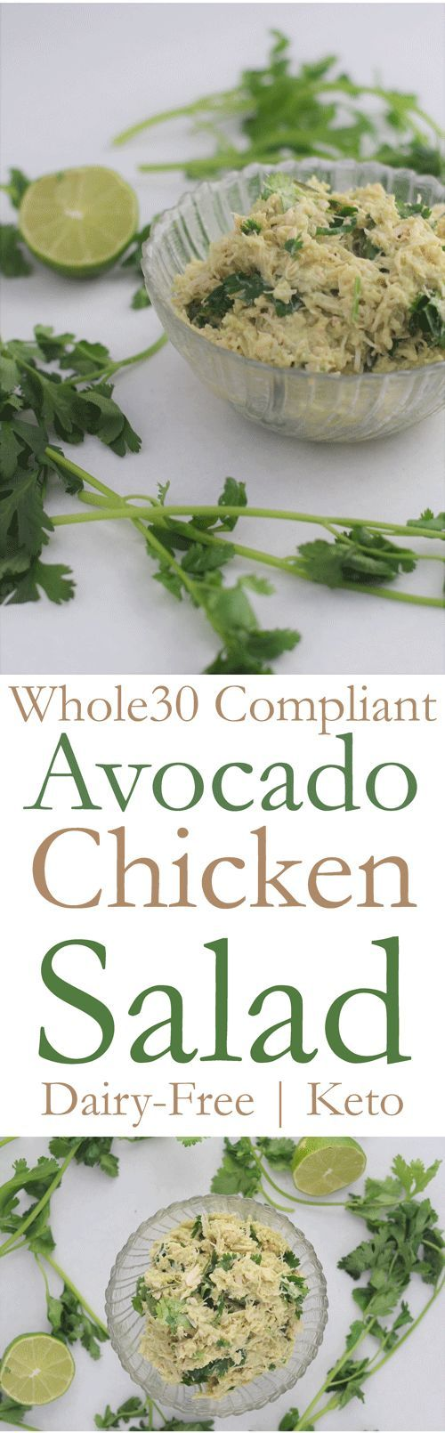 5-minute creamy avocado chicken salad! WHOLE30 compliant, paleo, low-carb and keto friendly!!