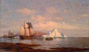 A Harbor on the Coast of Labrador, William Bradford, circa 1875, oil on canvas, 18 1/8 in. x 30 3/8 in. Currier Museum of Art.