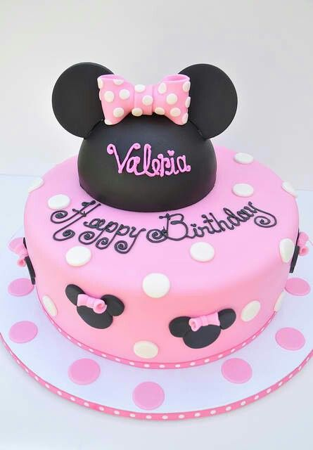 Minnie Mouse cake - like the ribbon on the white cake base. can spell out HB in black with pink bow on tip of letter H