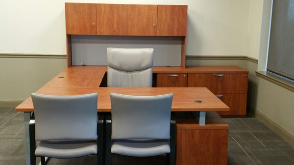 Cherokee County School District - Dr. Frank R. Petruzielo Educational Services Complex (Gaffney, SC) Flourish Desk + Workplace with Respect chairs in a private office. #NationalOffice
